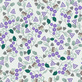 Pattern with small lilac flowers and berries Royalty Free Stock Photo
