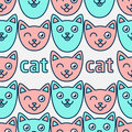 Pattern with smiling cats. Pink and blue faces of cats