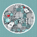 Pattern with snow birds hearts and flowers cute seamless vector texture Royalty Free Stock Photography