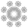 Pattern of snowflakes contours abstract black isolated on white background vector Royalty Free Stock Photo