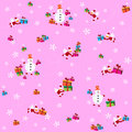 Pattern with snowmen and santa clauses pink background flying presents white snowflakes on a pink background Stock Photos