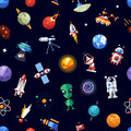 Pattern of space icons and infographics elements Royalty Free Stock Photo