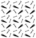 Pattern of spanner saw and hummer vector illustration Royalty Free Stock Photos