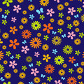 Pattern with spring flowers on blue