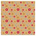 Pattern with stylized colors. Red, yellow and blue flowers on a brown background. Royalty Free Stock Photo