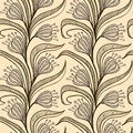 Pattern with stylized drawings of flowers vector seamless chinese lantern flower plant on climbing vine in soft warm beige colors Royalty Free Stock Images