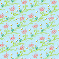 Pattern with stylized flowers and bees simple floral ornamented seamless texture background for web print home decor textile Stock Photo