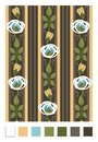 Pattern of stylized rose hips and stripes.Vertical repeating floral ornament in art nouveau style