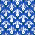 Pattern with stylized trees on blue ornamental vintage damask motifs and seamless texture for web print holiday decor textile Royalty Free Stock Photo