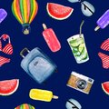 Pattern of summer watercolor elements: suitcase, glasses, balloon, swimsuit, camera, ice cream, mojito cocktail