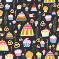 Pattern of sweet cakes Royalty Free Stock Photos