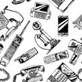 Pattern with telephone and mobile phone. Royalty Free Stock Photo