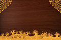Pattern thai carve wave gold on wood texture Stock Photography