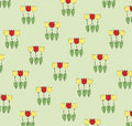 Pattern three tulips gray green background Stock Photography