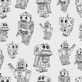 Pattern of toy robots vector the old Royalty Free Stock Images