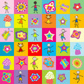 Pattern with toys and kids for kindergarten Royalty Free Stock Photo