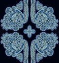 Pattern tracery in the form of a flower on a colored background.