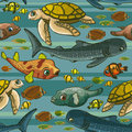 Pattern with underwater creatures. Royalty Free Stock Photo