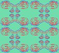 Pattern of 4 undulating shapes on a green background. Royalty Free Stock Photo