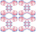 Pattern of 4 undulating shapes on a white background. Royalty Free Stock Photo