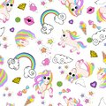 stock image of  Pattern with unicorns, rainbow, clouds, heart with wings, lips, stars