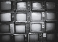 Pattern wall of pile black and white retro television Royalty Free Stock Photo