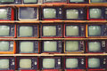 Pattern wall of pile colorful retro television TV Royalty Free Stock Photo