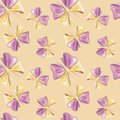 Pattern, watercolor, Bows on beige background