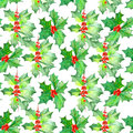 Pattern with watercolor branches with the red berries and green leaves (holly tree) Royalty Free Stock Photo