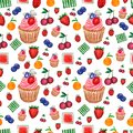 Pattern of Watercolor painted collection of fruits and berries and cupcake.Hand drawn fresh food design elements isolated on white