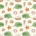 Pattern with watercolor shell sea star and palm tree artistic seamless illustration Stock Images