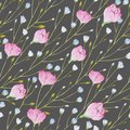 Pattern of watercolor thin twigs with blue and pink flowers on a gray background.