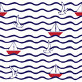 Pattern with wave, sailing boat, flying gulls. Royalty Free Stock Photo