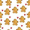 Seamless pattern of watercolor Christmas gingerbread cookies.