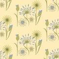 Pattern wildflowers gentle beige blue art creative vector