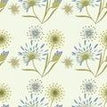 Pattern wildflowers gentle beige blue on a light background art creative