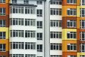 Pattern of windows on a building wall. texture of window building architecture Royalty Free Stock Photo