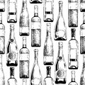 Pattern with wine and champagne bottles