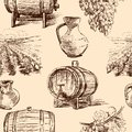 Pattern with wine making vector background pictures about winemaking Stock Image