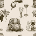 Pattern of winemaking vector patern a theme wine making Stock Photo