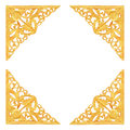 Pattern of wood carve gold paint for decoration on white background. Royalty Free Stock Photo