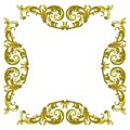 Pattern of wood gold flower carved isolated on white background Royalty Free Stock Photo
