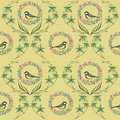 Pattern with wreath and birds.