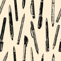 Pattern of writing instruments Royalty Free Stock Photo