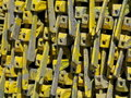 Pattern of yellow scaffolding heads Stock Photo