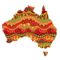 Patterned australia continent map element with bright aboriginal ornament at abstract silhouette vector file is eps Stock Image
