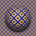 Patterned ball rolling along the same surface. Abstract vector optical illusion illustration. Motion seamless pattern