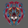 Patterned colored head of the lion. African / indian / totem / tattoo design. It may be used for design of a t-shirt, bag, postcar Royalty Free Stock Photo