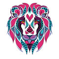 Patterned colored head of the lion. African / indian / totem / tattoo design Royalty Free Stock Photo