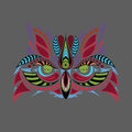 Patterned colored head of the owl. African / indian / totem / tattoo design. It may be used for design of a t-shirt, bag, postcard